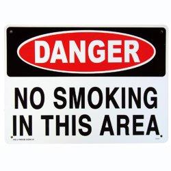 画像1: アメリカン雑貨 看板 プラスチックサインボード 危険ここは禁煙 Danger No Smoking In This Area CA-06