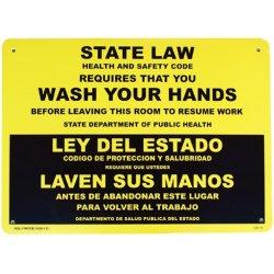 画像1: アメリカン雑貨 看板 プラスチックサインボード 手洗い厳守 State Law/Wash Your Hands CA-15