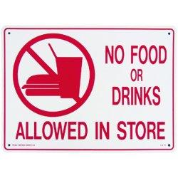 画像1: アメリカン雑貨 看板 プラスチックサインボード 飲食禁止 No Food or Drinks Allowed in Store CA-16