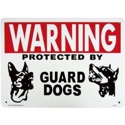 画像1: アメリカン雑貨 看板 プラスチックサインボード 番犬に注意 Warning Guard Dogs CA-17
