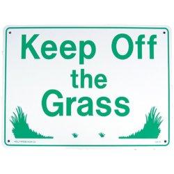 画像1: アメリカン雑貨 看板 プラスチックサインボード 芝生に入るな Keep Off The Grass CA-18