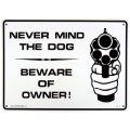 アメリカン雑貨 看板 プラスチックサインボード  Never Mind The Dog/Beware Of Owner CA-19
