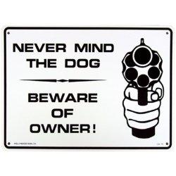 画像1: アメリカン雑貨 看板 プラスチックサインボード  Never Mind The Dog/Beware Of Owner CA-19