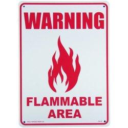 画像1: アメリカン雑貨 看板 プラスチックサインボード 注意可燃エリア Warning Flammable Area CA-22