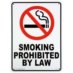 画像1: アメリカン雑貨 看板 プラスチックサインボード 禁煙 Smoking Prohibited by Law CA-25