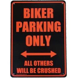 画像1: アメリカン雑貨 看板 プラスチックサインボード Biker Parking Only  CA-35