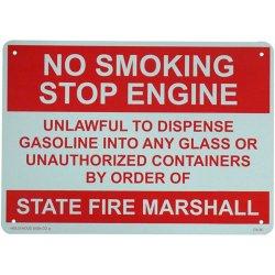 画像1: アメリカン雑貨 看板 プラスチックサインボード 火気厳禁 No Smoking Stop Engine CA-36