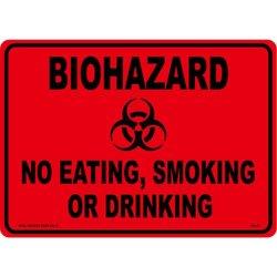 画像1: アメリカン雑貨 看板 プラスチックサインボード バイオハザード Biohazard(オレンジ) CA-42