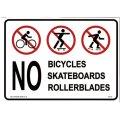 アメリカン雑貨 看板 プラスチックサインボード 自転車・スケボー・ローラーブレード禁止 CA-45