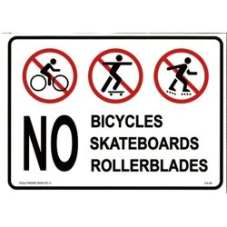 画像1: アメリカン雑貨 看板 プラスチックサインボード 自転車・スケボー・ローラーブレード禁止 CA-45