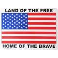 アメリカン雑貨 看板 プラスチックサインボード 自由人の国 勇者の故郷(星条旗) Land of the Free CA-47