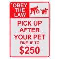アメリカン雑貨 看板 プラスチックサインボード ペットの後始末しない場合は250ドル以下に罰金 CA-61