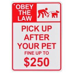 画像1: アメリカン雑貨 看板 プラスチックサインボード ペットの後始末しない場合は250ドル以下に罰金 CA-61