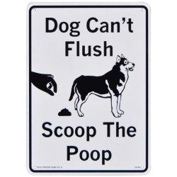 画像1: アメリカン雑貨 看板 プラスチックサインボード 犬は水を流せません、後始末しましょう CA-64