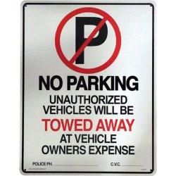 画像1: アメリカン雑貨 看板 プラスチックサインボード(Lサイズ) No Parking(Towed Away) CA-L01
