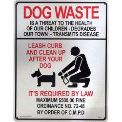 画像1: アメリカン雑貨 看板 プラスチックサインボード(Lサイズ) 犬の後始末を Dog Waste CA-L02