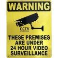 アメリカン雑貨 看板 プラスチックサインボード(Lサイズ) 24時間監視中(防犯カメラ作動中) Warning CA-L03