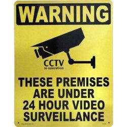 画像1: アメリカン雑貨 看板 プラスチックサインボード(Lサイズ) 24時間監視中(防犯カメラ作動中) Warning CA-L03