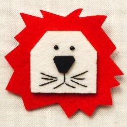 画像1: フェルトブローチ ライオン