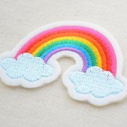画像2: ワッペン レインボー&2クラウド(虹と雲)