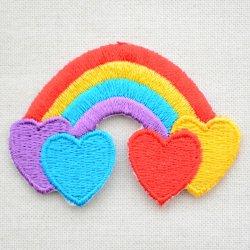 画像1: ワッペン レインボー&4ハート(虹)