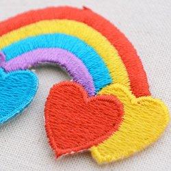 画像2: ワッペン レインボー&4ハート(虹)
