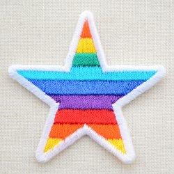 画像1: ワッペン レインボースター(虹柄の星)