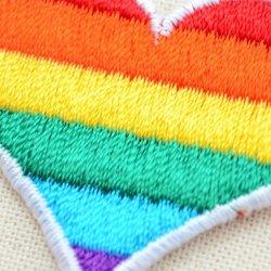 画像2: ワッペン レインボーハート(虹柄のハート)