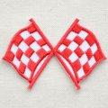 ワッペン ミニチェッカーフラッグ(旗/レッド)