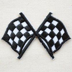 画像1: ワッペン ミニチェッカーフラッグ(旗/ブラック)