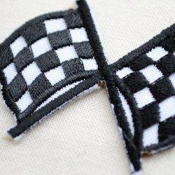 画像2: ワッペン ミニチェッカーフラッグ(旗/ブラック)