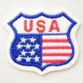 ワッペン USA ロードサイン(アメリカ国旗/星条旗柄)